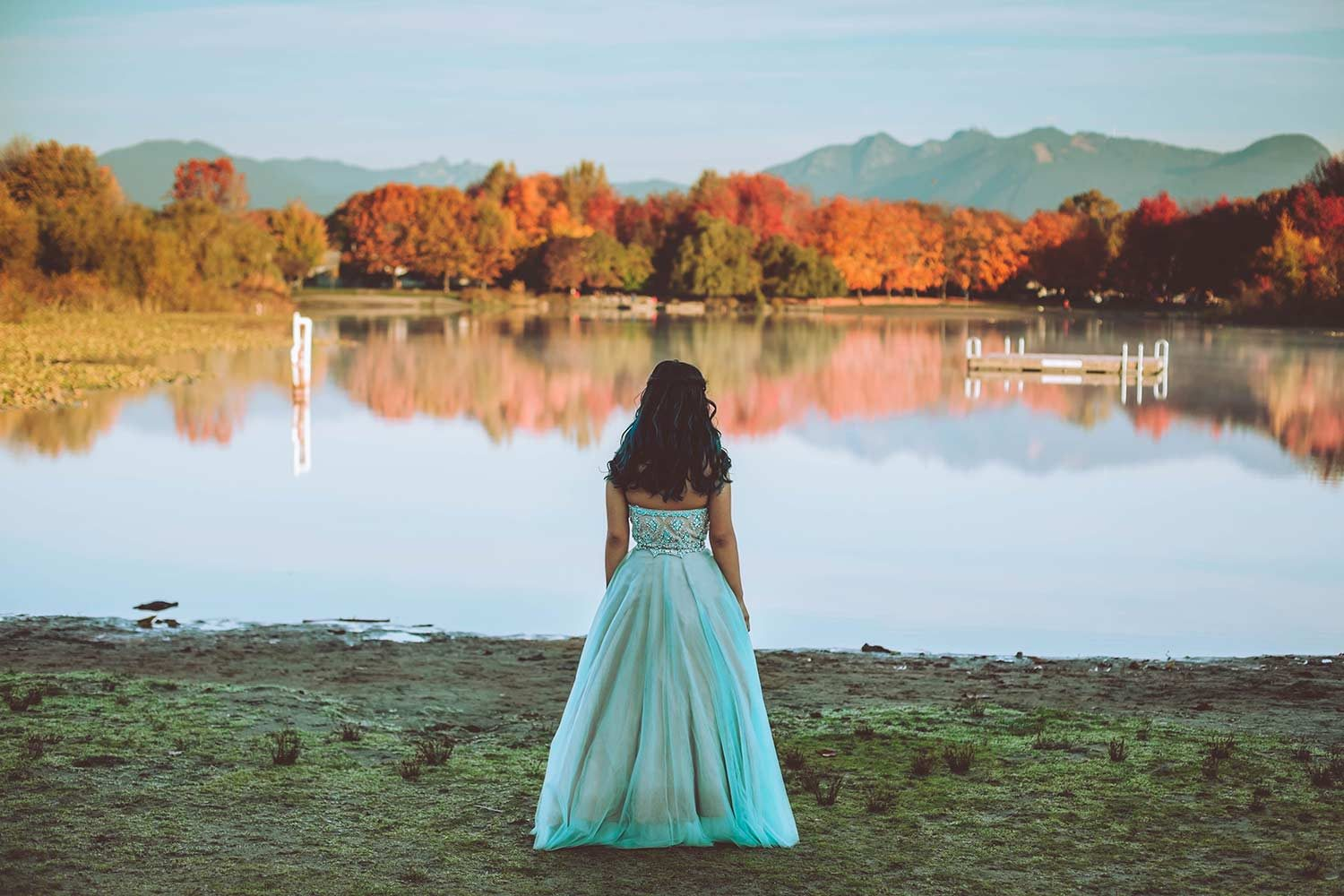 sunrise, trout lake, grad gown, girl, teen, fashion, autumn